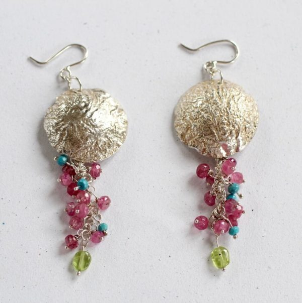 handcrafted silver gemstone earings